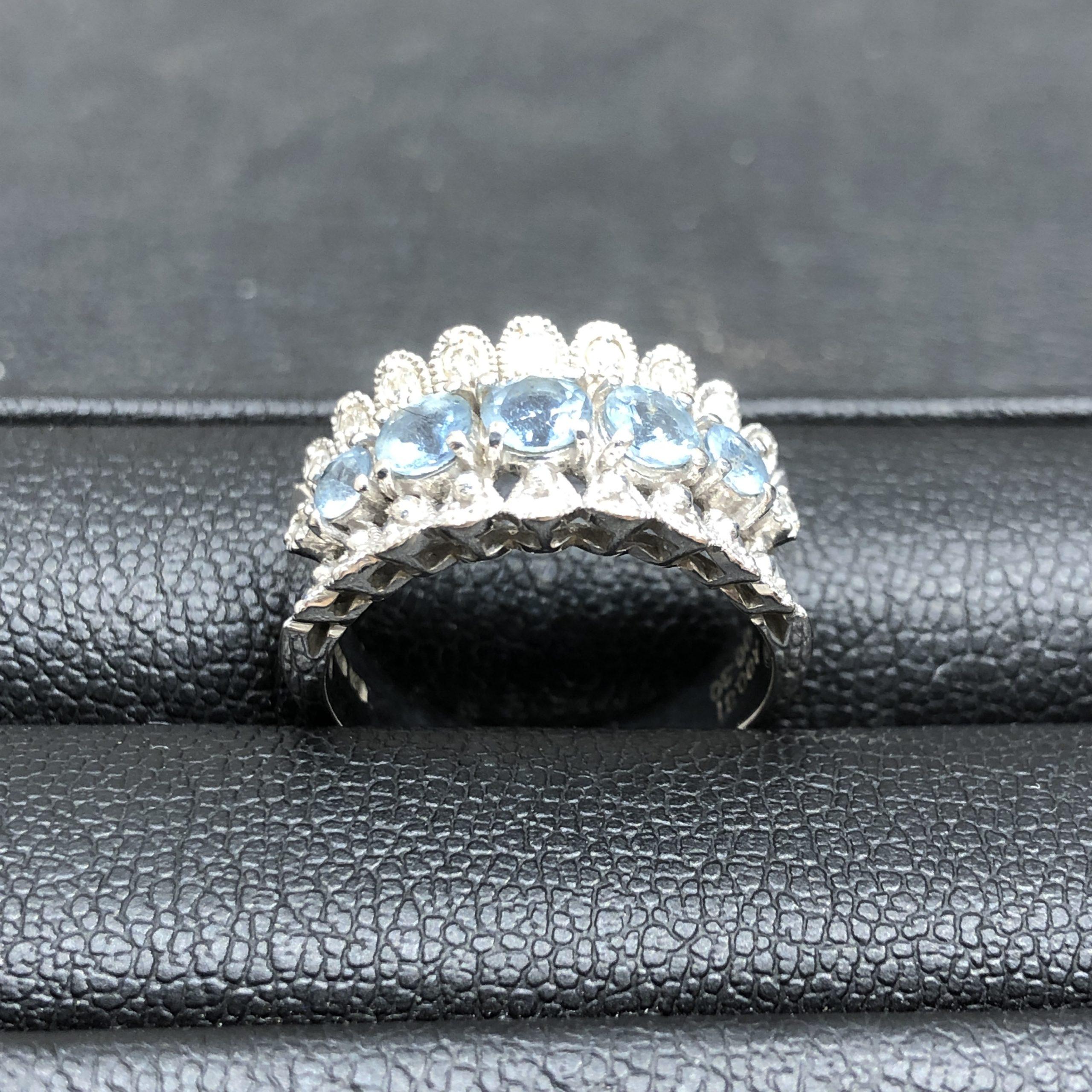 【K18WG】アクアマリン 指輪