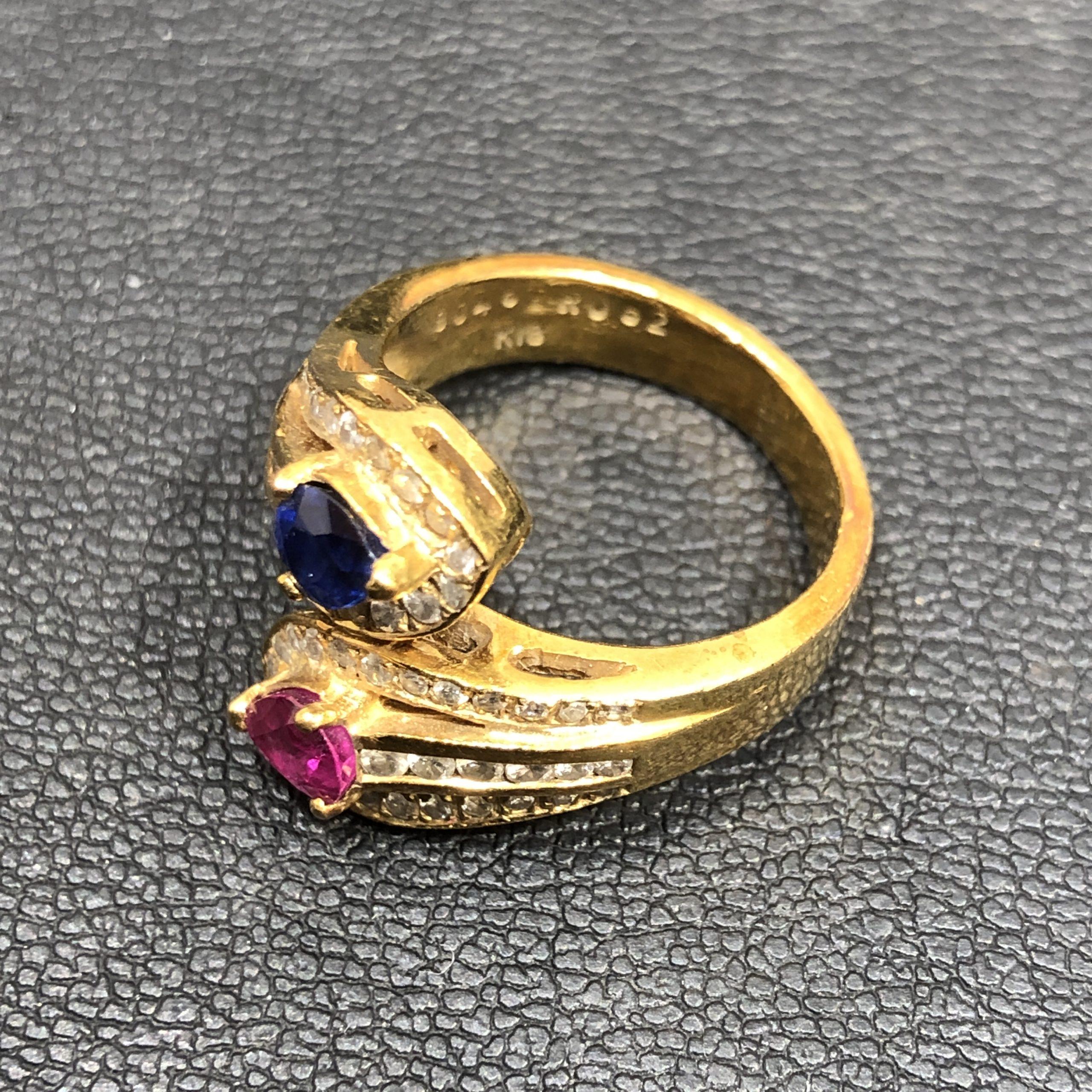 【K18/18金】サファイア0.4ct ルビー0.52ct MD0.47ct 指輪