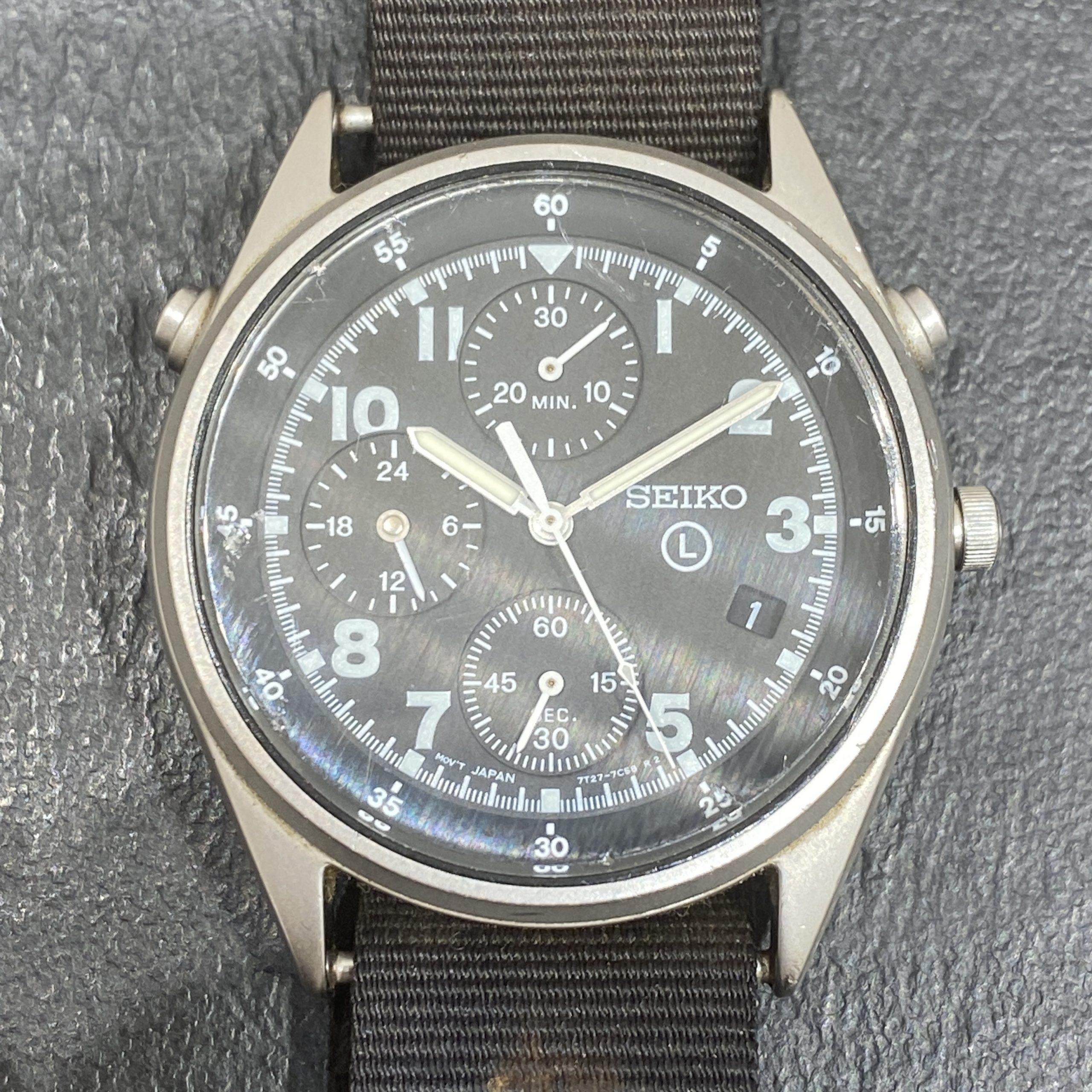 【SEIKO/セイコー】クオーツ時計 CHRONOGRAPH/クロノグラフ 7T27-7A20 ミリタリー Lマーク