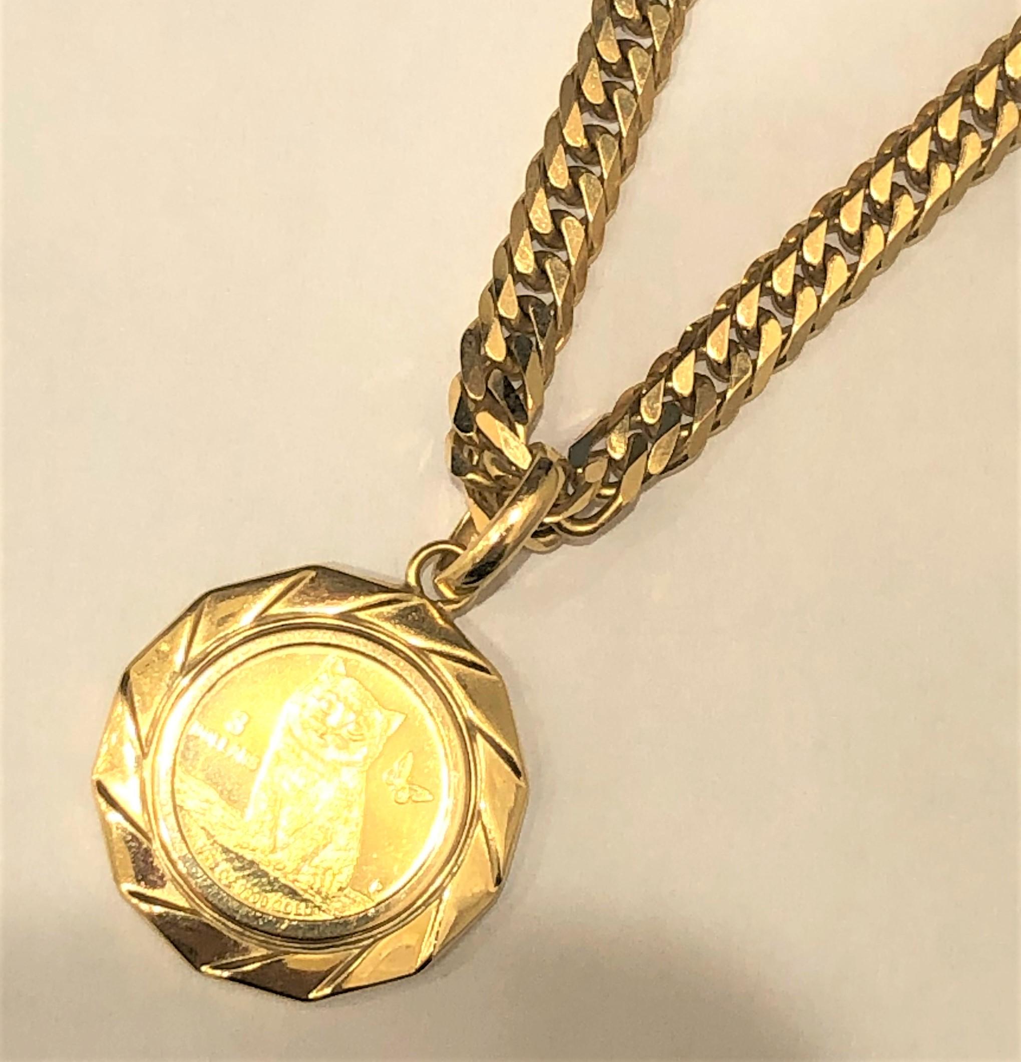 K24 ツバルキャット金貨/K18 ネックレス 喜平