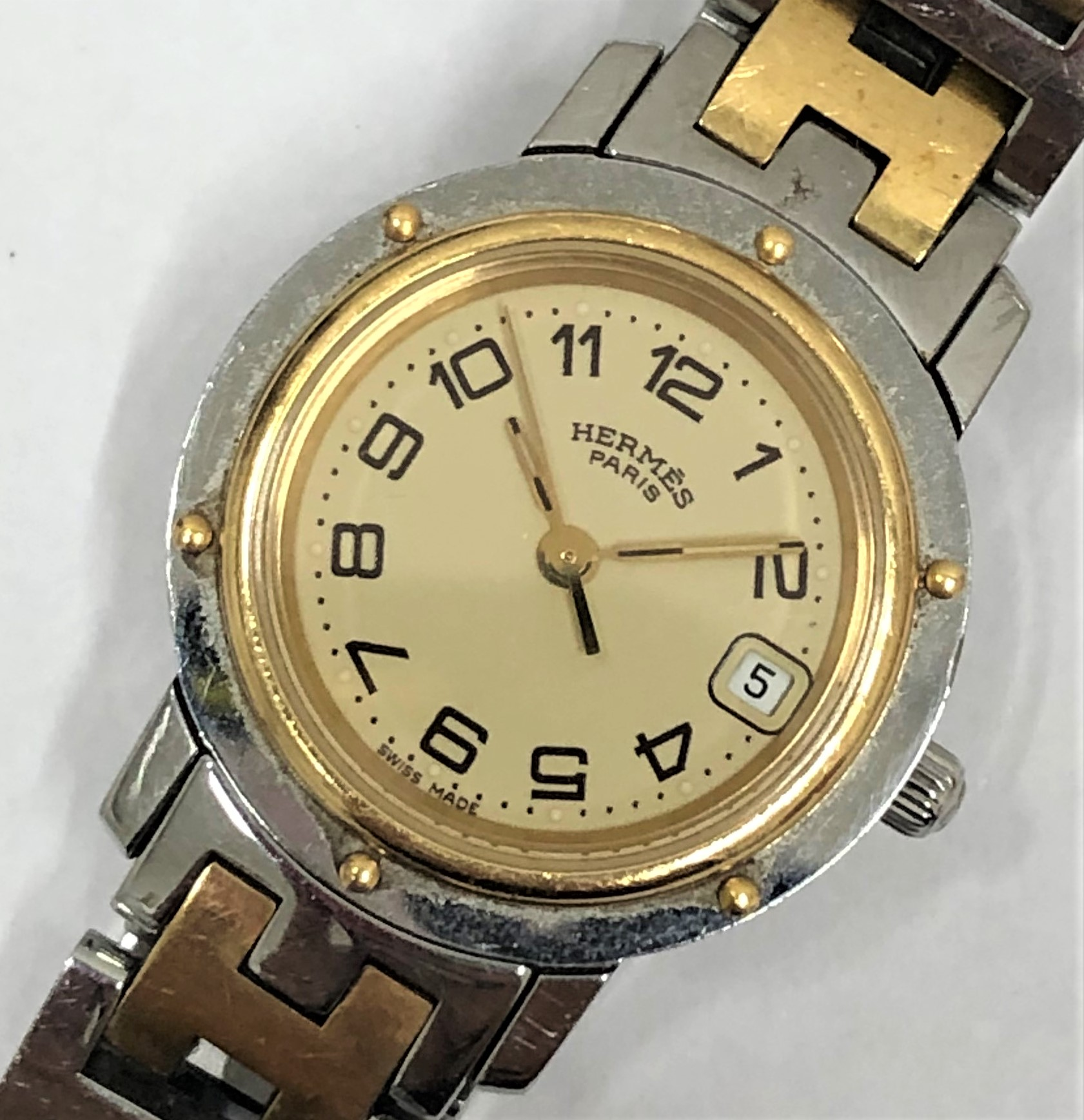 【HERMES/エルメス】クリッパー コンビ CL4.220 QZ 腕時計